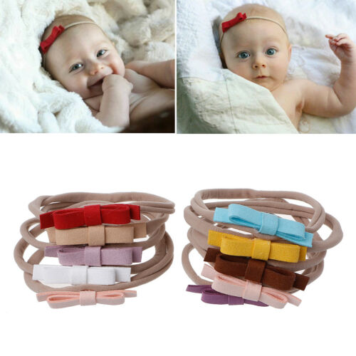 10Pcs Newborn Headwear Bows Leather Bow Elastic Nylon Headband Hair Accessories