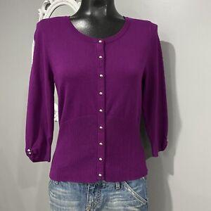 Small-WHITE-HOUSE-BLACK-MARKET-Purple-Snap-Closure-Lightweight-Cardigan-Sweater