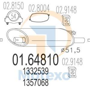 MTS 01.41660 Exhaust VOLVO 940 2.4 Diesel 79bhp 01//92-12//93