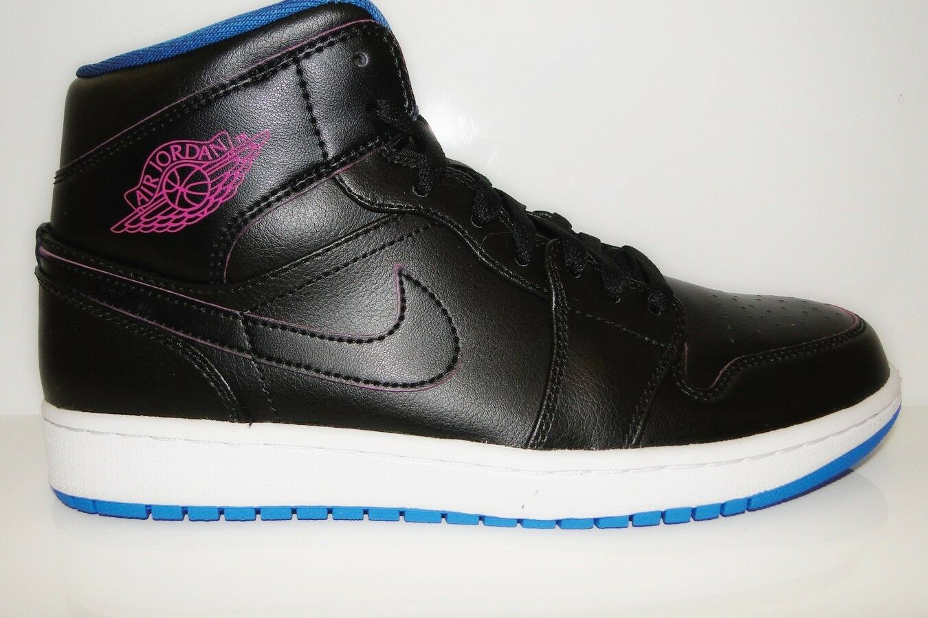 Zapatos de mujer baratos zapatos de mujer Nike Air Jordan a mediados de 1 Botas de baloncesto para hombre Retro-Negra/firepink/Foto Azul
