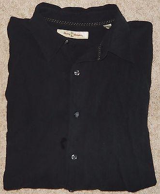 Tommy Bahama Shirt 100% Silk Black Textured Men's  X LG Long Sleeve Vacation