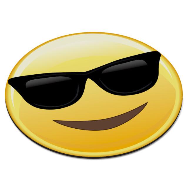 emoji sunglasses cool smiley face circular pc computer mouse mat pad funny