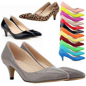 Womens-Low-Mid-Kitten-Heels-Slip-On-Court-Shoes-Ladies-Pumps-Wedding-Office-Size
