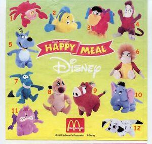 McDonald's Mc Donald's Happy Meal - 2000 Disney soft toys various