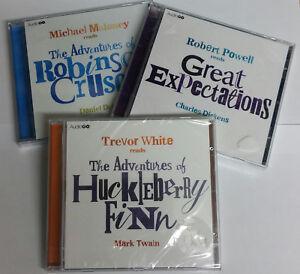 HUCKLEBERRY-FINN-ROBINSON-CRUSOE-GREAT-EXPECTATIONS-3-AUDIO-CD-case-cracked