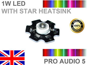 High Power 2 pcs 2x 1w Red OR Blue LED Chip with STAR Heatsink 660nm /& 440nm