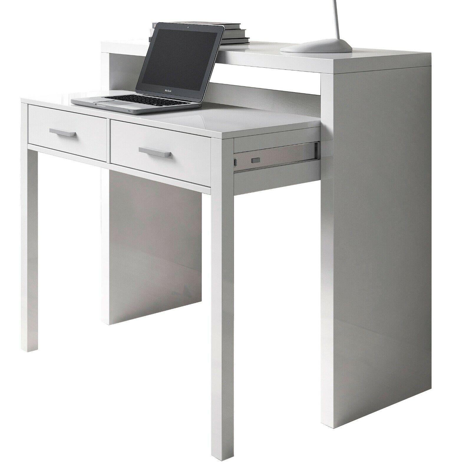 Mesa escritorio extensible tocador salon blanco 2 cajones 98x87x36-70 cm