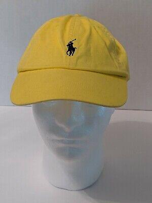 VINTAGE Ralph Lauren Polo Strap Back Hat Cap Yellow Blue Pony Adjustable 90s *