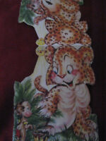 Vtg 1949 Die Cut How The Leopard Got His Spots Story Book Greeting Card Signed
