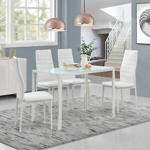 Dettagli su Tavolo da Pranzo con 4 Sedie Bianco Cucina Sala Vetro