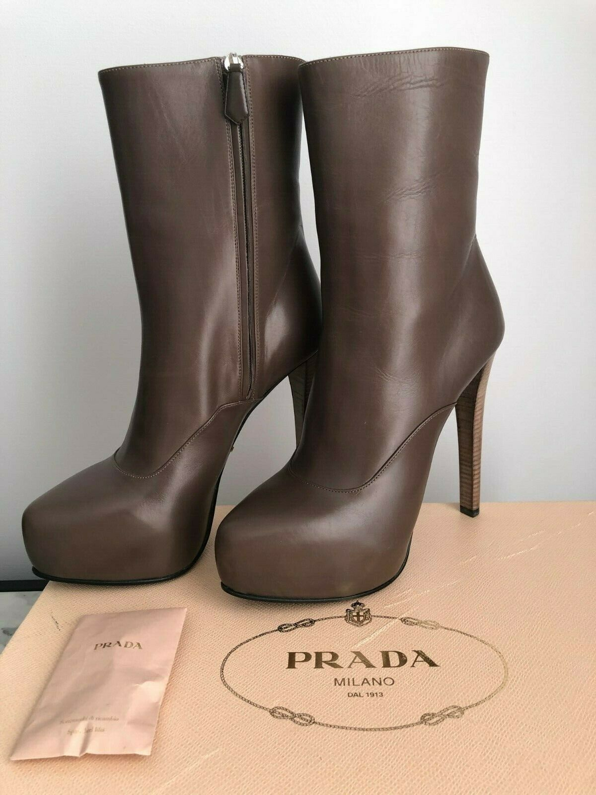Original Prada Calf Leather Platform Wedge Boots ankle booties zipper shoe box