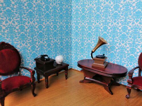 Portrait Dolls House Wallpaper 180gsm Matte Photo Paper 1//12th Eton Blue