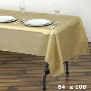 Gold Rectangle 54x108 Disposable Plastic Table Cover Tablecloth