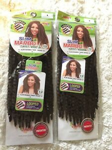 Janet Collection 2 Pack Slim Mambo Twist Braid 12 Looped Crochet