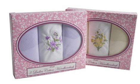 Womens// Ladies Handkerchief 3//6//9//12 Pack In Gift Box 100/% Cotton Handky Lot