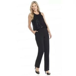 aa8532e75fe CYNTHIA ROWLEY Jumpsuit Size 4 Small S Black Sequin Overlay Pantsuit ...