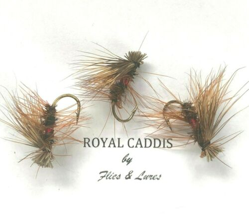 ROYAL CADDIS Choose hook Next day delivery 3,4 or 6 Trout Fly Fishing DRY Flies