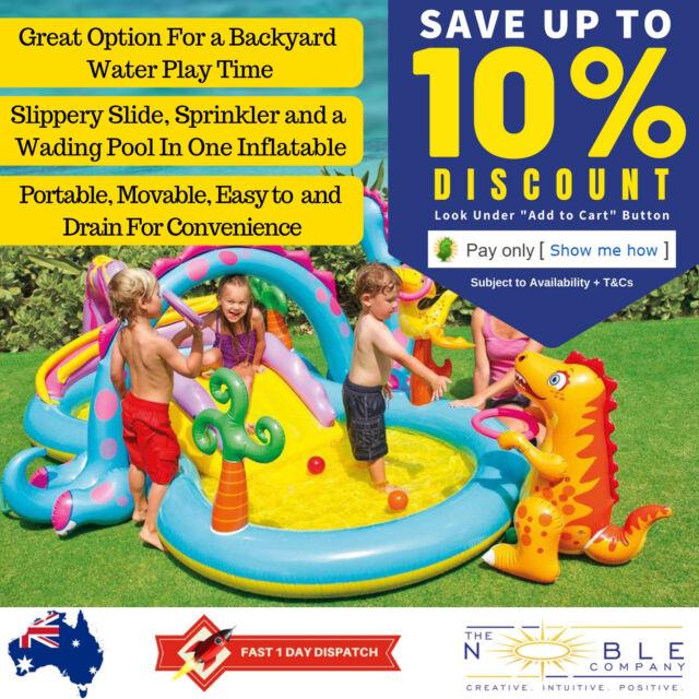 Kids Dinoland Play Centre Inflatable Backyard Kiddie Pool Slide Water Fun Intex