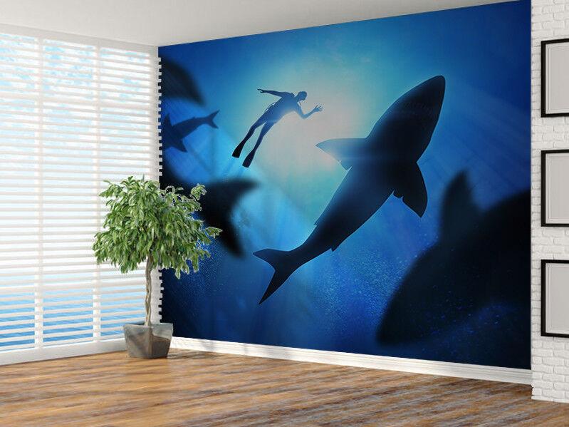 Unter den Wellen mit Großer Weiß Haien Foto Wandtapete Wandgemälde (31048627)