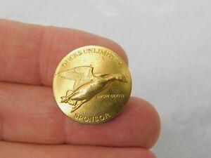 Vintage-DU-Ducks-Unlimited-Sponsor-Larry-Tochik-Signed-Badge-Snow-Goose-dr58