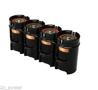 Storacell Powerpax D4 Black Slimline Battery Caddy- Organizes 4 Batteries