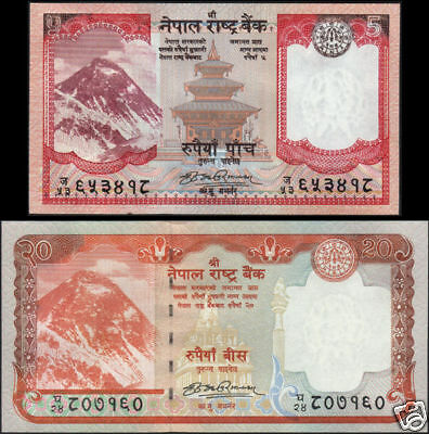 Nepal 5 & 20 62a Sign #17 Unc Profit Small 2009 Everest 1st Series Banknote Rs 60a P