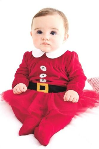 BNWT NEXT Baby Girls Christmas Santa Suit//Dress NB-3m Tutu Velour Sleepsuit NEW