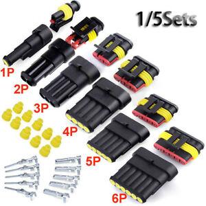 5sets-1-6-Pin-Conector-Kits-de-sellado-electrico-a-prueba-de-agua-Cable-Conector