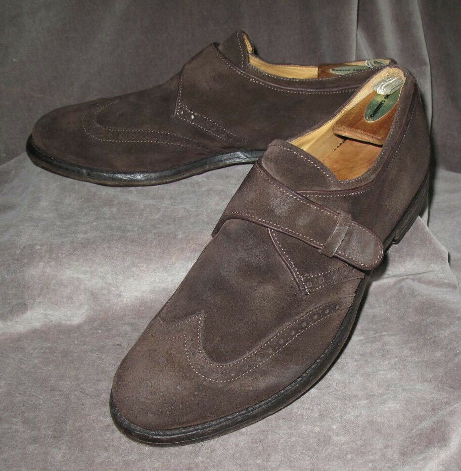OFFICINE CREATIVE Men's Brown Suede Slip-On Wing Tip shoes 42 IT  9 US Made