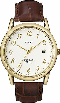 Timex T2M441, Men's Easy Reader Brown Leather Watch, Indiglo, Date, T2M4419J