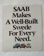 1970 SAAB 96 Sedan 95 Station Wagon Sales Advertising Brochure Vintage Car