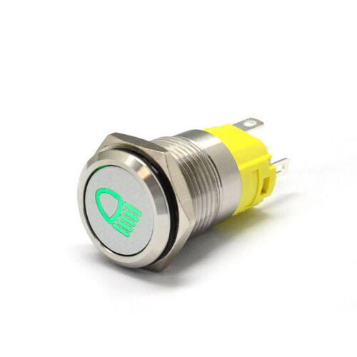 19mm 12V Car LED Metal Push Button Switch Dashboard Custom Symbol 4 Momentary