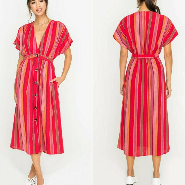 Lush striped deep V button down midi short sleeve midi dress