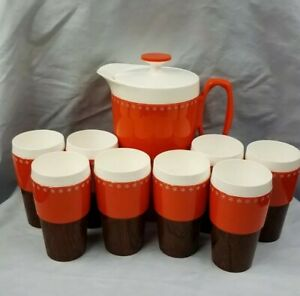 Vintage-Woodhue-Thermoware-Set-of-Pitcher-8-Tumbler-Orange-Woodgrain-70s