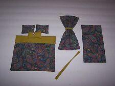 Dollhouse Miniature Comforter Set With Matching Curtain Panels Paisley Print Han