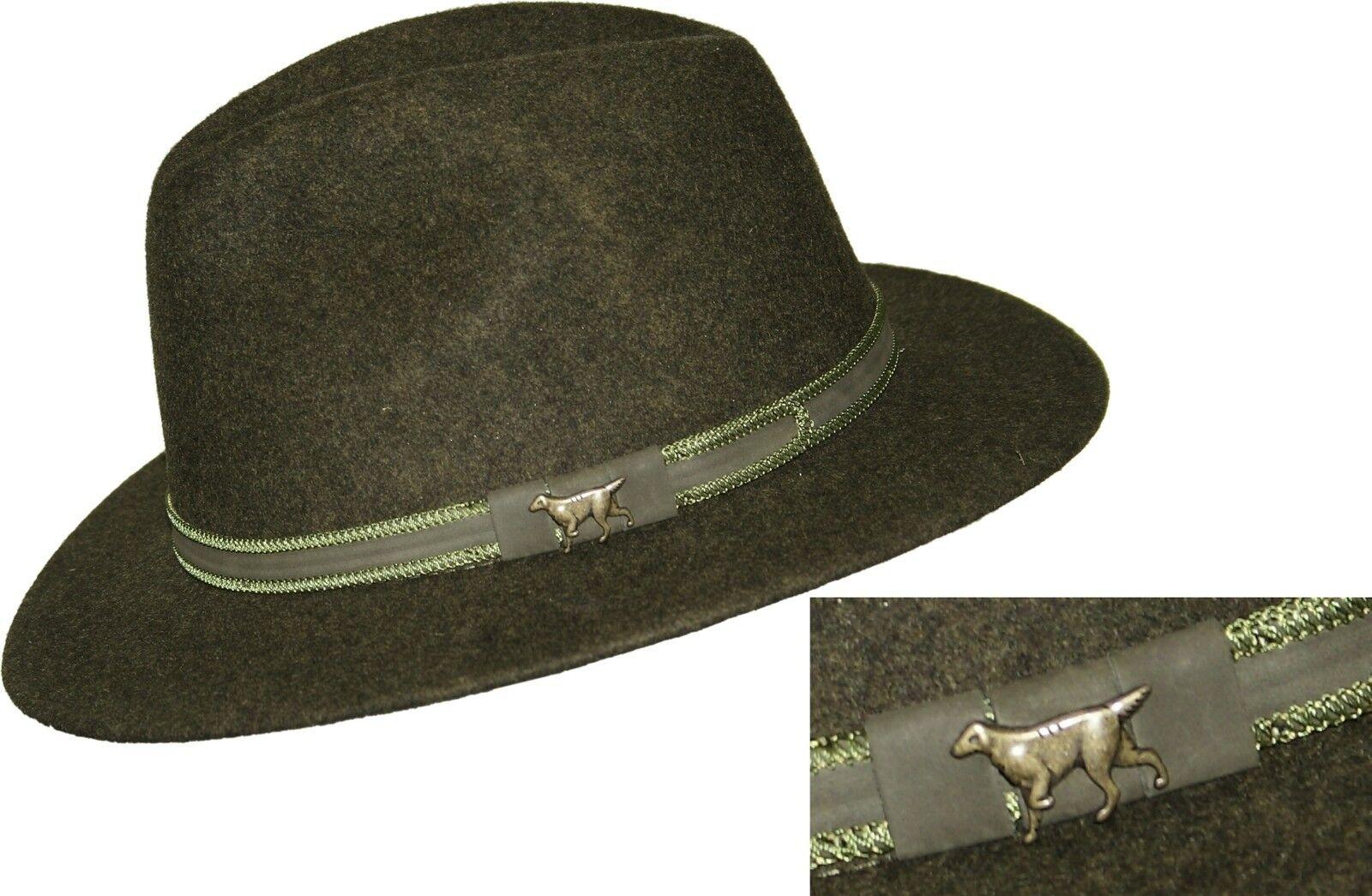 Jagdhut Outdoorhut  Ziergarnitur  Hund  Hut  oliv-green 100% Wolle von SKOGEN