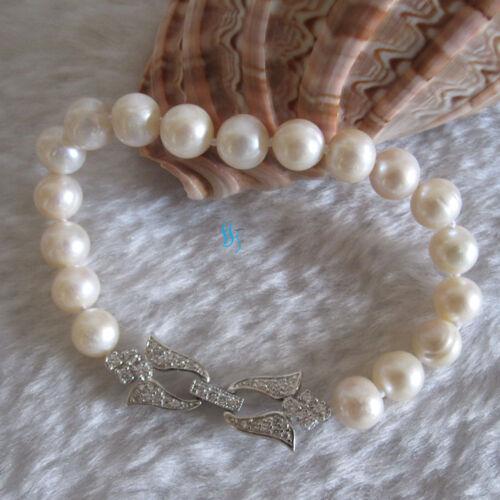 """8/"""" 9-10 mm Blanc AA Freshwater Pearl Bracelet 2 H S Fermoir"""