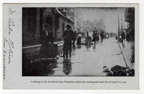 AMERCIA, SAN FRANCISCO, COOKING IN THE STREETS AFTER EARTHQUAKE, 1906