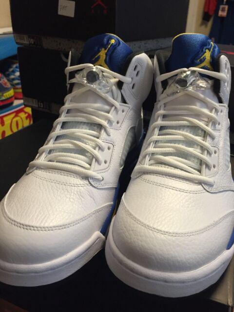 timeless design a976a a4f2c Nike Air Jordan 5 Retro Laney White Blue Yellow Size 13