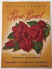 1954 Rose Bowl Program Wisconsin Vs Usc