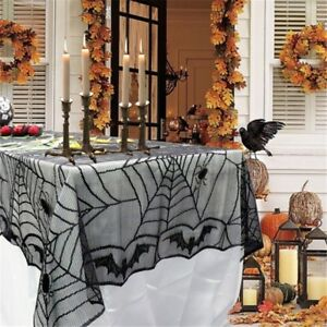 Image Is Loading 1x Halloween Spiderweb Tablecloth Black Lace Bat Spider