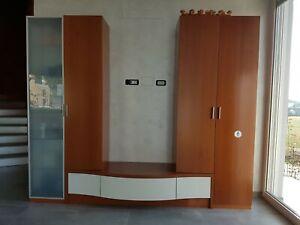 Dettagli su mobile soggiorno componibile color ciliegio e panna