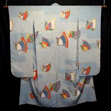 "Vintage Japanese Furisode Kimono Blue Woman's Silk Robe ""Kaleidoscope"""
