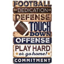 Football Metal Sign Embossed New sports athlete man cave boys bedroom decor