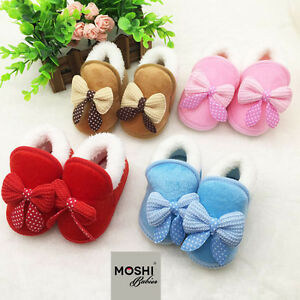 Baby-Warm-Fluffy-Fur-Bow-Slippers-Pram-Cot-Shoes-non-slip-by-Moshi-Babies