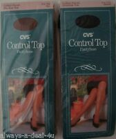 2 Cvs Control Top Pantyhose / Medium Tall / Black_cotton Panel_shadow Toe