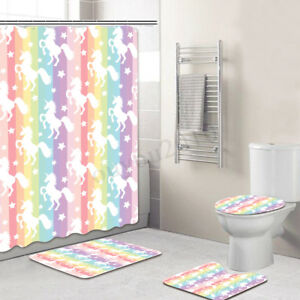 unicorns shower curtain anti slip toilet mats set washable bathroom rh ebay com