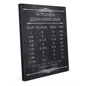 Kitchen Canvas Wall Art kitchen conversions chart graphic for kitchen 16x20 canvas wall