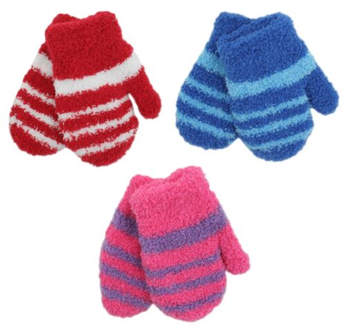 RJM Babies Soft Touch Fluffy Striped Mittens