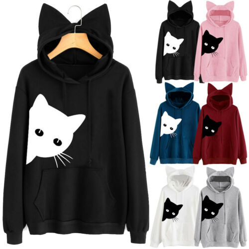 Womens Cute Cat Print Long Sleeve Hoodie Sweatshirt Hooded Pullover Tops Blouse